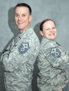First sergeants deploy, discover family members.Air Force Master Sgts. Shawn and Lynnette Tolar, who serve as first sergeants for the 380th Expeditionary Force Support Squadron and 380th Expeditionary Communications Squadron, pose for a picture at an undisclosed location in Southwest Asia. The two deployed here in November and learned they are sixth cousins. (U.S. Air Force photo/Master Sgt. April Lapetoda)