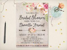 Rustic Bohemian Flower Bridal Shower by VintageBellsAndCo on Etsy