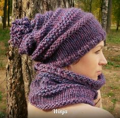 Knitted hat and scarf, knitted hat, knitted scarf, knitted set, knitted cowl, knitted snood, cowl,  lilac, rustic knit, hand knit scarf