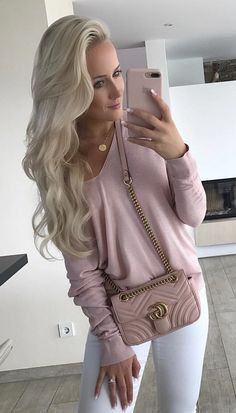 #winter #outfits  pink v-neck long-sleeved shirt, white denim pants, and pink crossbody bag outfit