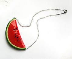 Watermelon Red Necklace handmade statement by AbraKadabra Handmade Statement Necklace, Handmade Necklaces, Handmade Gifts, Red Necklace, Pendant Necklace, Earrings, Watermelon Crafts, Diy Food, Accessories