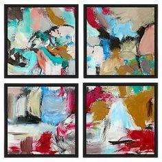 Painter's Strokes Framed Giclee Print (Set of 4)