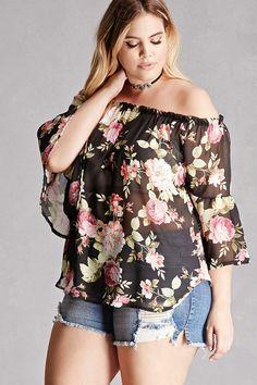 Plus Size Floral Chiffon Top
