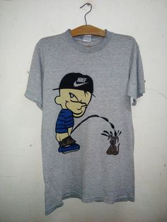 624189fde5ca Items similar to Sale Rare !! Vintage 90 s OG Rude boy Nike Hat Calvin and  Hobbes peeing Dog Designs Parody Tee Shirt Swag Hipster Era Sz M on Etsy