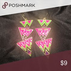 Tribal Pattern 3-tier French Hook Earrings Tribal Pattern 3-tier French Hook Earrings; barely worn! Spices up any outfit. Pink, black, green and purple chevron type of design on the earrings. Jewelry Earrings