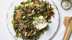 Rainbow chard and quinoa salad with sultanas, sunflower seeds and ricotta