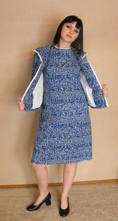 Vintage 60s Blue Print Dress Jacket Andrew Arkin Jacket Dress 2c915f055