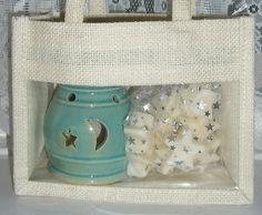 Turquoise Oil Burner, Soy T Lights & Wax Melts Gift Set. Cream Jute Bag. Halloween. Christmas. Home Fragrance. Stars. Wax Warmer. UK Seller by RainflowerKent on Etsy