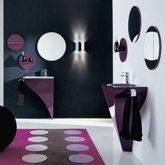 Black and white bathroom wall color with purple accent furniture for small bathroom