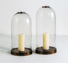 Interlude Jasmin Bell Jars. With an antique brass metal base, the Jasmin Bell Jars evoke days past with timeless style. – Modish Store
