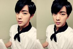 "BTS Tweet - Jin (selca) 150703 --오늘은 주방장!!! 나랑 밥 먹을사람 구함 -- [TRANS] ""I'm a head chef today!!! I'm looking for people who wants to eat with me""  --  cr: ARMYBASESUBS ‏@BTS_ABS"