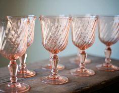 Vintage Pink Glass Goblets