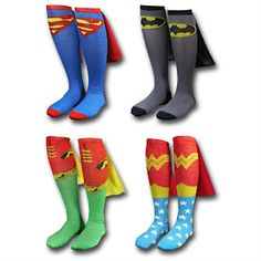 SWEET! DC comic superhero cape socks.. MUST HAVE for anytime of the year lol Brian is Batman and I am Robin!!