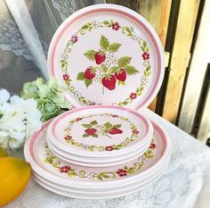 Mid century Mikasa Pink Strawberry Dinnerware plate set. Modern Country Store Stoneware plates, Berry patch, retro, decor, kitchen,