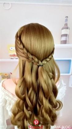Hairstyle Idea is part of Long hair styles - Hairstyle Idea Romantic Hairstyles, Easy Hairstyles For Long Hair, Fancy Hairstyles, Down Hairstyles, Braided Hairstyles, Hair Upstyles, Lolo, Wedding Hair Inspiration, Brown Blonde Hair