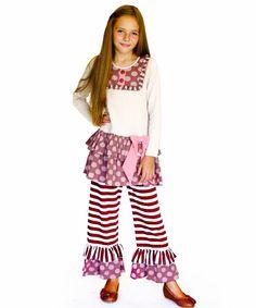 Jelly The Pug Fall Cappuccino Ruffle Tunic & Pants - Infant & Tween 12M,18M,3T  #JellythePug #DressyEveryday