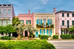 Rainbow Row in Charleston, SC...we loved visiting here! A must to do with the kids-they will love the colorful houses!!! We love to swim in the Pineapple downtown!