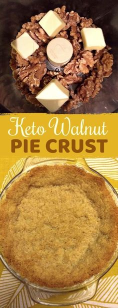 This keto pie crust recipe is the healthiest you will ever eat! It's low carb, gluten free, paleo, sugar free, and made with 2 simple ingredients– walnuts and butter. It's super quick and easy to. Walnut Pie Crust Recipe, Pie Crust Recipes, Keto Recipes, Vegetarian Recipes, Healthy Recipes, Low Carb Sweets, Low Carb Desserts, Keto Foods, Bon Dessert