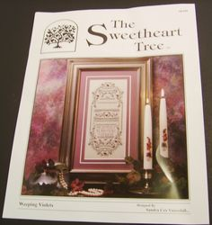 Sweetheart Tree Weeping Violets Sampler Limited Edition Kit by BricoSales on Etsy Tent Stitch, Diamond Eyes, Satin Stitch, Violets, Linen Fabric, Etsy Store, Embellishments, Cross Stitch, Kit