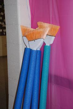 Workshop of Wonders VBS Decorations. Create paintbrushes using brooms and pool noodles. Preschool Painting, Preschool Art, Maker Fun Factory Vbs, Fiestas Party, Art Party, Teaching Art, Teaching Ideas, Art Classroom, Preschool Activities