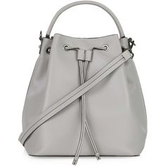 TOPSHOP Premium Large Leather Duffle Bag (235 CAD) ❤ liked on Polyvore featuring bags, topshop, grey, leather slouch bag, gray leather bag, leather drawstring pouch, leather drawstring bag and leather duffel bag
