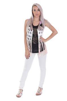 Gilet sans manche en crochet et à franges violet - Zonedachat.com Violet, Crochet, White Jeans, Articles, Boots, Fashion, Fringe Coats, Trending Fashion, Crotch Boots