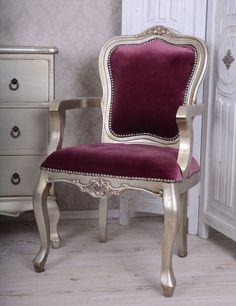 Niezwykle elegancki fotel w stylu Rokoko / Wonderful chair in Rococo Style Silver