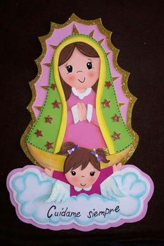 Virgen maria Fun Crafts, Diy And Crafts, Crafts For Kids, Paper Crafts, Baptism Decorations, Catholic Crafts, Baptism Party, Religious Art, Stone Art