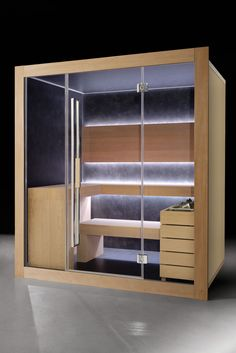 Sauna DREAM by Carmenta. Following the Finnish traditions, the sauna is a hot-dry bath, with temperature ranging between 80°-100° C and humidiy ranging between 10-20%.