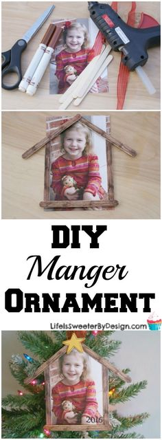 Easy DIY Manger Ornament is so fun with a picture of your child. Plus get some great tips for Shepherd on the Search and how you can keep Christ the focus of Christmas!