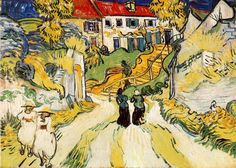 """Village Street and Steps in Auvers"", oil on canvas, 49.8 x 70.1 cm, late May, 1890.  City Art Museum, Saint-Louis, USA."