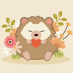 The Character Of Cute Couple In Love Of Hedgehog With Flower On The Yellow Background. Cute Love Couple, Couples In Love, Cute Heart Drawings, Gif Mignon, Wallpaper Kawaii, Cute Kawaii Girl, Cute Hedgehog, Cute Poster, Aesthetic Stickers