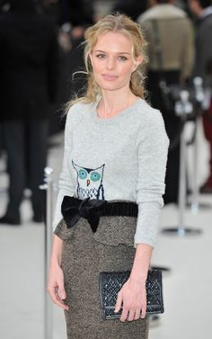 Kate Bosworth in Burberry Pre-Fall 2012. must have owl sweater.
