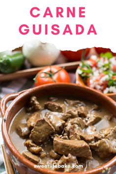 Thick cuts of meat stewed until tender in a rich gravy served with rice and beans and plenty of flour tortillas carne guisada is pure comfort. #carne #guisada #beef #sweetlifebake #sweetlife #sweetliferecipes | sweetlifebake.com @sweetlifebake