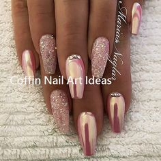 20 Trendy Coffin Nail Art Designs - The most beautiful nail designs Coffin Nails, Gel Nails, Smart Nails, Cute Nails, Trendy Nail Art, Cool Nail Art, Nail Art Designs, Acyrlic Nails, Nagel Gel