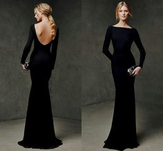 Long Sleeve Prom Dresses 2015 Mermaid Cheap Sexy Backless Evening Gowns Formal Sheath Black Zuhair Murad Prom Dress With Bra Floor Length Prom Dress Black, Black Bridesmaid Dresses, Prom Dresses Long With Sleeves, Dress Long, Long Sleeve Formal Dress, Long Sleeve Backless Dress, Black Gowns, Lace Dresses, Bridesmaids