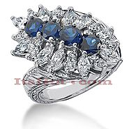 Gemstone Jewelry: Ladies Diamond and Sapphire Ring 14K 1.90ctd 1.60cts