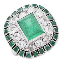 1920s Cabochon Emerald Diamond Gold Ring