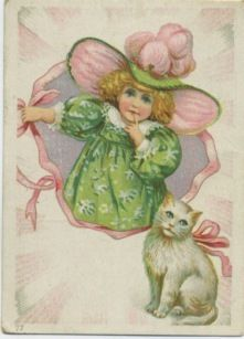 Davis Sewing Machine Trade Card Sweet Girl with Cat