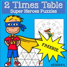 Times Tables Super Heroes Puzzles Two Times Table 3rd Grade Math, Grade 3, Teacher Resources, Teaching Ideas, 2 Times Table, Math Tables, 12th Maths, Multiplication Facts, Cooperative Learning