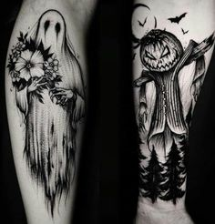 If you believe that Halloween is not just a festival but a lifestyle then you should definitely get a Halloween tattoo. Heres the best Halloween tattoos. Leg Tattoos, Body Art Tattoos, Sleeve Tattoos, Cool Tattoos, Leg Tattoo Sleeves, Styles Of Tattoos, Awesome Tattoos, Tattos, Goth Tattoo
