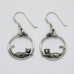 Three Dimensional Cat and Mouse Hoop Earrings at theBIGzoo.com, an animal-themed superstore.