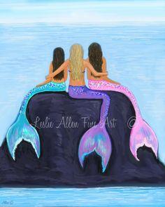 Mermaid Painting Art Print Wall Art Decor Mermaids Sisters Friends Daughters Gi… – My CMS Mermaid Artwork, Mermaid Drawings, Mermaid Paintings, Best Friend Drawings, Bff Drawings, Canvas Wall Art, Wall Art Prints, Mermaids And Mermen, Fantasy Mermaids