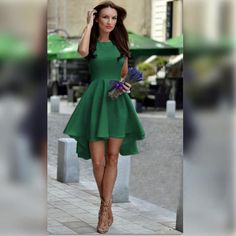 Pure Candy Color Irregular High Waist Short Dress