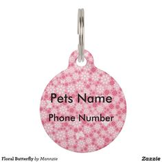 Floral Butterfly Pet ID Tag