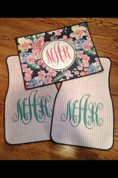 Monogrammed car mats in seersucker, madras, and (knockoff) Lilly...how does a girl ever pick just one?!?!