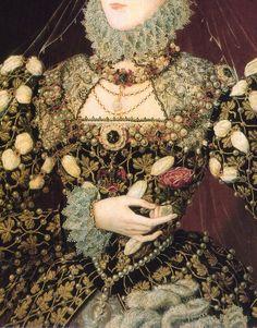 Detail of 'Elizabeth I, The Phoenix Portrait' by Nicholas Hilliard, 1575.