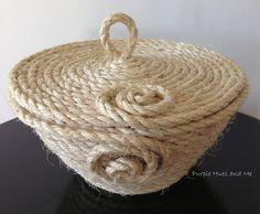 coiled sisal rope basket with lid, crafts, diy, home decor, organizing Rope Basket, Basket Weaving, Crafts To Make, Arts And Crafts, Diy Crafts, Jute Crafts, Sisal Rope, Craft Gifts, Handicraft