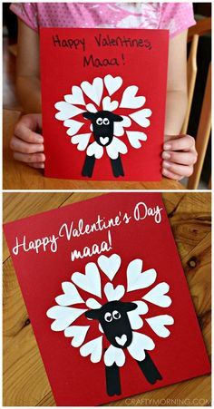 "Heart shape sheep valentine card/craft for kids to make that says ""happy valentine's day maaa!"" 