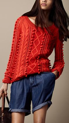 Cable Knit Wool Blend Sweater, Orange Red from Burberry $595